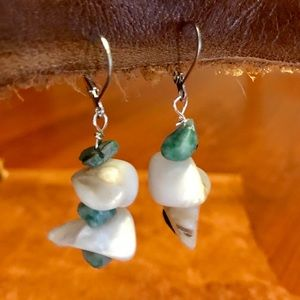 """Jewelry - 1 3/4"""" turquoise/white natural mother of Pearl ER"""